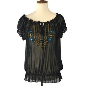 Gemstone Embroidered Sheer Boho Peasant Top